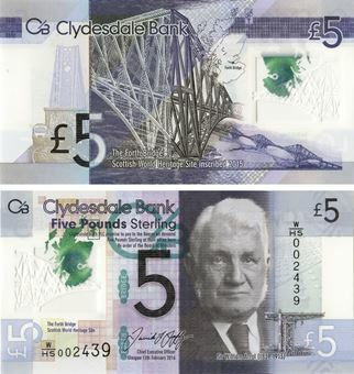 Picture of Clydesdale Bank £5  2016 W/HS Prefix Polymer Plastic  P235b Unc