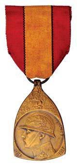 Picture of Belgium, Triangular World War I Commemorative Medal