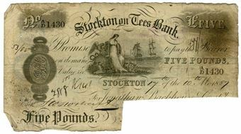 Picture of Stockton On Tees £5 1880's (Outing 2050c)  VG