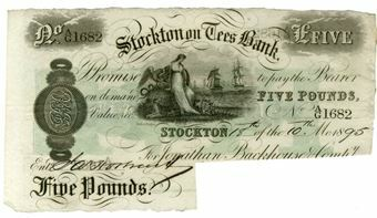 Picture of Stockton On Tees £5 1880's-1890's (Outing 205c) Cut Cancelled GEF