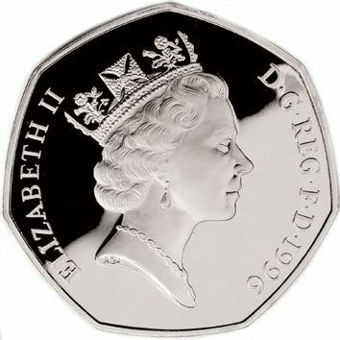 Picture of Elizabeth II, 50 Pence 1996 Sterling Silver