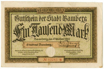 Picture of Germany Bamberg 1000 Marks 1922 Fine-VF