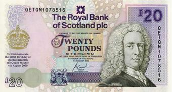 Picture of Royal Bank Scotland £20 Queen Mother P361 Unc