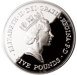 Picture of Elizabeth II, £5 (Queen Mother's 90th birthday) 1990 Sterling Silver Proof