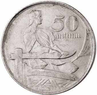 Latvia_1922, 50 Santimu_obv