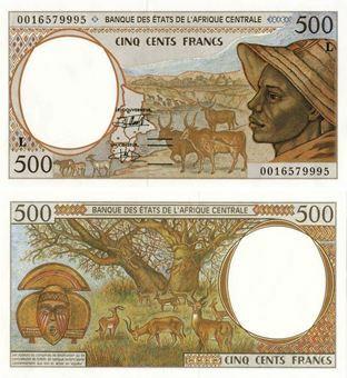 Gabon (as Centr Afr States) 500 Francs P401L Unc