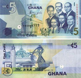 Ghana 5 Cedis 2015 P38f Unc