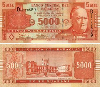 Picture of Paraguay 5000 Guaranies 2005  P223a Unc