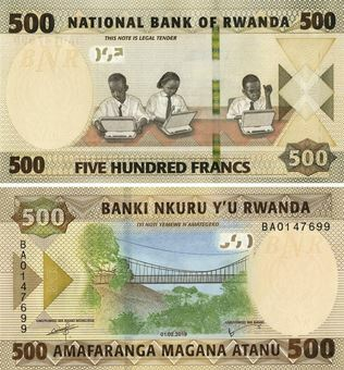Picture of Rwanda 500 Francs 2019 P-New Unc
