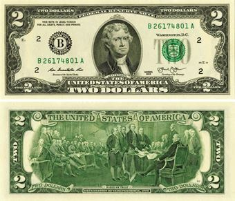 Picture of United States of America, 2 Dollars 2013  P538 Unc