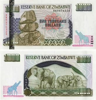 Picture of Zimbabwe 1000 Dollars 2003 P12 Unc