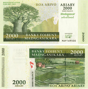 Picture of Madagascar 2000 Ariary/10,000 Francs 2012 P93 Unc