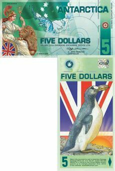 Picture of Antarctica 5 Dollars Brit Antarctic Terr Plastic Unc