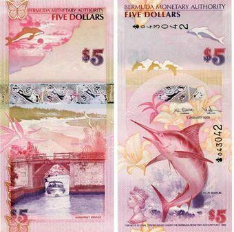Picture of Bermuda 5 Dollars 2009 P58a  Onion Prefix  Unc
