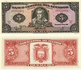 Picture of Ecuador 5 Sucres 1988 P113d Unc