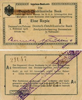 Picture of German E Africa 1 Rupien 1916 P21 A Last GEF/Unc