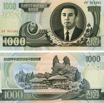 Picture of North Korea 1000 Won P45b Unc
