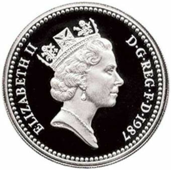1987 Silver Proof Pound in capsule_obv