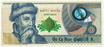 Picture of De La Rue Giori Test Note Gutenberg Uniface Unc