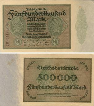 Picture of Germany 500,000 Marks 1923 P88 VF