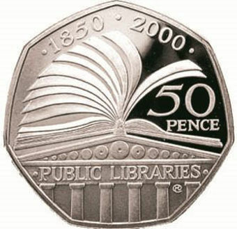 2000 50 Pence (Libraries) Piedfort_rev
