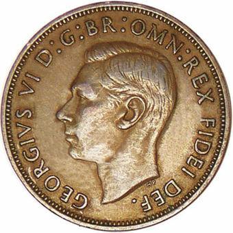 George VI_Rare_Penny_in_Very_Fine_Condition_1950_Obv