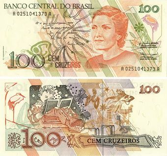 Picture of Brazil 100 Cruzeiros (1990) P228