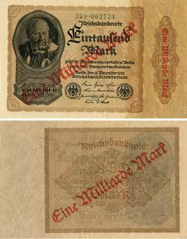 Picture of Germany 1 Milliarden on 1000 Marks 1923 P113a GEF/ Unc