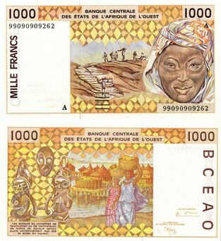Picture of Ivory Coast 1000 Francs P111 Unc