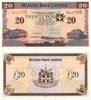 Picture of N Ireland Ulster Bank £20 2014 Unc