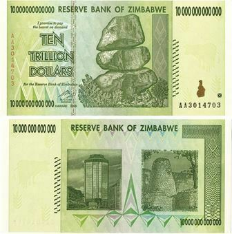 Picture of Zimbabwe 10 Trillion Dollars P88 Unc