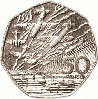 Picture of Elizabeth II,  50 Pence (D-Day 50th Anniversary) 1994  Unc