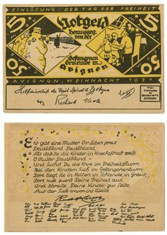 Picture of Germany/France Avignon Weihnacht 1921 5 Marks /50 centimes POW Notgeld