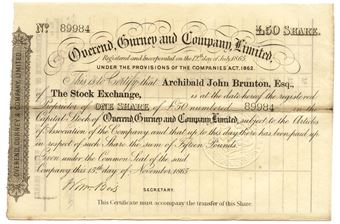 Picture of Overend Gurney & Co Ltd £50 1865 Share Cert