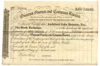 Picture of Overend Gurney & Co Ltd £50 1865 Share Cert