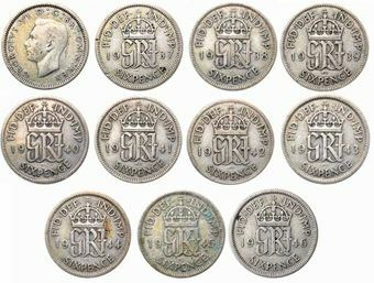 Picture of George VI, Complete Sixpence Collection 1937-46