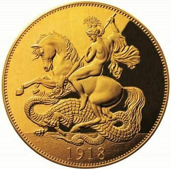 Picture of George V, 1918 100 Anniversary of World War Commemorative in Gold Coated Copper
