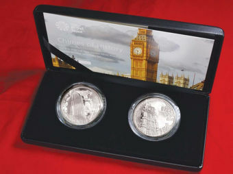 Picture of Elizabeth II, £2 Pair of Big Ben 2017 Silver Proofs Cased