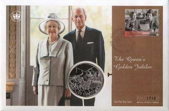 Picture of Elizabeth II, Golden Jubilee Cook Isl Crown / Gibraltar stamp