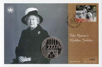 Picture of Elizabeth II, Golden Jubilee Fiji Crown / Gibraltar Stamp