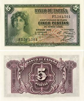 Picture of Spain 5 Pesetas 1935 P85a Unc