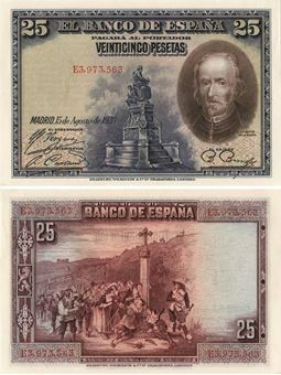 Picture of Spain 25 Pesetas 1928 P74b Unc