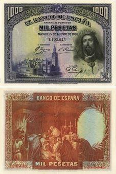 Picture of Spain 1000 Pesetas 1928 P78a EF/GEF