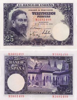 Picture of Spain, 25 Pesetas 1954 P147 A Unc