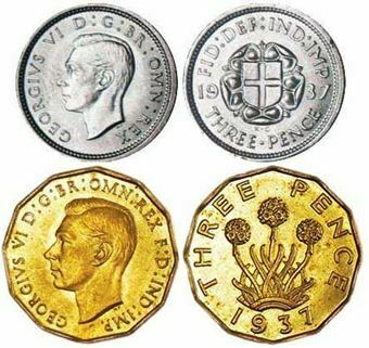 Picture of George VI, Silver & Brass Threepence 1937 Unc