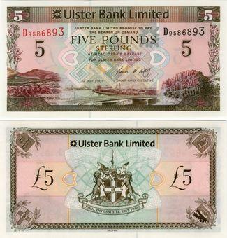 Picture of N Ireland Ulster Bank £5 2007 P340 Unc D Prefix