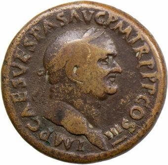 Picture of Vespasian. A.D. 69-79. Rome - A.D. 71. Æ Sestertius. FORTVNAE REDVCI.