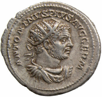 Picture of Caracalla. A.D. 198-217. Rome - A.D. 215. AR Ant. P M TR P XVIIII COS IIII P P.