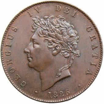 George IV_1826_Halfpenny_Obv