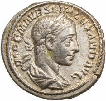 Severus Alexander. A.D. 222-235. Rome - A.D. 223. AR Denarius. P M TR P II COS P P_obv